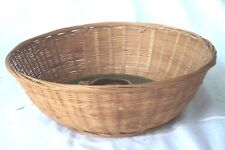 Round Basket with a Folk Art Painted Bottom