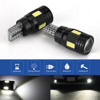 2Pcs Canbus T10 LED Light 5730 6SMD Error Free 12V Bulbs W5W 168 194 Lens 6000K