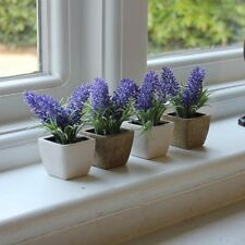 Set 4 artificial lavendar plants stone pots purple pretty gift home accessories