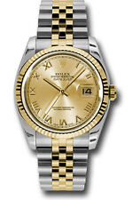 Rolex Datejust 36mm Fluted Two Tone Jubilee Bracelet Champagne Roman Dial 116233