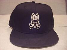 Psycho Bunny Flatbill Black Baseball Cap Hat One Size - Brand New - Nwt