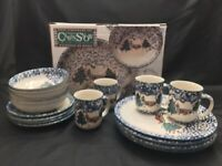 Tienshan Folk Craft Cabin in the Snow Stoneware 16 PIECE NEW PLATES CUPS BOWLS