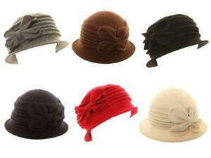 Ladies Wool Cloche Hat Womens Flower Floral Bow Winter Soft Warm Bell Bucket Cap