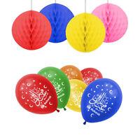 Eid Mubarak Ramadan Decoration  10 x Balloons, 4 x Honeycomb Balls - Multicolour