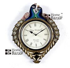 Traditional Rajasthani Hand Painted Wooden Peacock Shape Wall Clock - 463