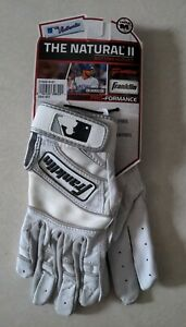 NEW Franklin Sports MLB The Natural II Batting Gloves Youth Medium White