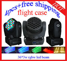 4pcs 36*3W RGBW Led Beam Moving Head DJ Light Led Beam Flight Case Free Shipping