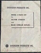 Sheridan Model C Silver Streak Explosive View and Parts List. Vintage