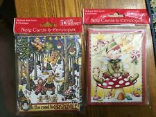 20 Mary Engelbreit Blank Note Cards & Envelopes Elf Christmas & on the road to .
