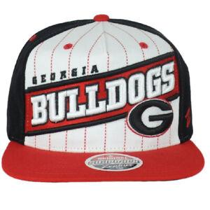 NCAA Zephyr Georgia Bulldogs White Black Red Snapback Striped Flat Bill Hat Cap