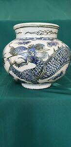 Korean Dragon Vase. Late Yi Dynasty. Very rare tri color.