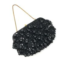 Vintage Richere by Walborg BLACK Beaded Sequined Clutch / Evening Bag Hong Kong
