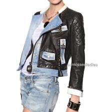 Dsquared2 Black Leather Denim Jacket UK10 IT42 As Kara RRP1800GBP Dsquared