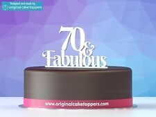 """""""70 & fabulous"""" White - 70th Birthday Cake Topper - Made by OriginalCakeToppers"""