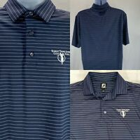 Footjoy Men's Medium Robert Trent Jones Golf Trail Shirt Navy Blue White Stripes