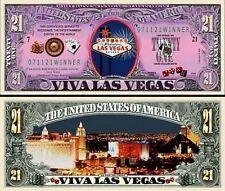 Viva Las Vegas 21 Dollar Bill Collectible Fake Play Funny Money Novelty Note