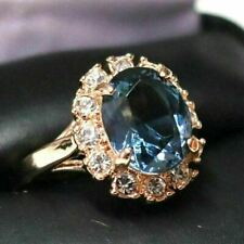 Sparkling Oval Blue Sapphire Ring Women Engagement Jewelry 14K Rose Gold Plated