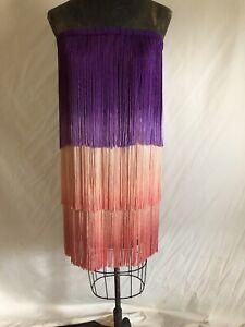Calypso St. Barth's fringe  Dip Dyed Tank Dress 100% Silk Size 1