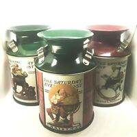 "Set 3 Norman Rockwell Tins 5"" Milk Cans 2004 Christmas Saturday Evening Post"