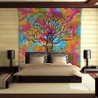 Tree OF Life Mandala Wall Hanging Tapestry Indian Bohemian Queen Size Bed Sheet
