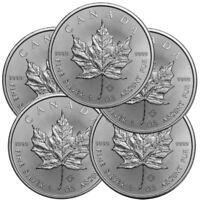 Lot of 5 - 2019 1 oz Canadian .9999 Silver Maple Leaf $5 Coins SKU# 399399