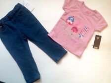 Guess  Baby Girls Denim Jeans Tshirt  Set 18 M Guess Logo 100%Authentic BNWT