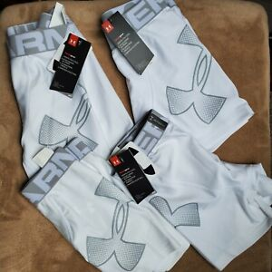 Under Armour Boys Medium Fitted Boxers x 4 Pairs White $100 Underwear #1330758