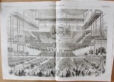 1857 ANTIQUE PRINT - THE GREAT HANDEL FESTIVAL PLUS PLAN OF ORCHESTRA & TEXT