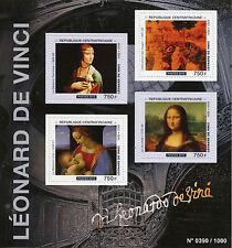 Central African Rep 2015 MNH Leonardo Da Vinci 4v M/S Art Paintings Mona Lisa
