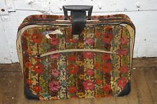 VINTAGE CHENILE CARPET BAG SMALL SUITCASE CARRY ON LUGGAGE TRAVEL BAG 60's