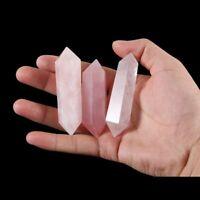 preciosa Varita de cuarzo de columna Roca natural Rosa de piedra de cristal
