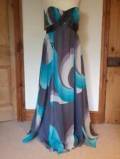 Monsoon Seda Gris y Turquesa Maxi vestido largo, con huesos Top, Forrada. Talla 14 EUR 42