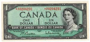 Bank of Canada 1954 $1 One Dollar Replacement Note Beattie-Rasminsky CHOICE UNC