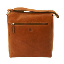 Rowallan - Tan Veneer North/South Top Zip Messenger Bag in Buffalo Leather