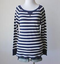 OLD NAVY Striped Thermal Waffle Knit Raglan Baseball Fitted T Shirt Blouse Top L