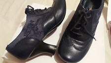 HUSH PUPPIES NAVY BLUE SHOES BOOTS LACES SIZE 4 VICTORIAN BROGUES MOULIN VINTAGE
