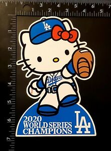 "2020 WORLD SERIES CHAMPIONS LA Dodgers 6.75"" x 4.5"" Hello Kitty Vinyl Sticker"