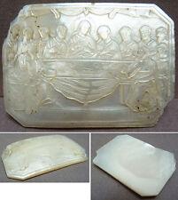 Le Christ La Cène Plaque de nacre gravée vers 1860 Napoléon III mother of pearl