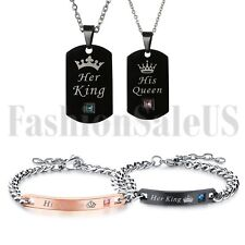 His and Hers Stainless Steel His Queen Her King Couple Tag Necklace Bracelet Set