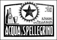 PUBBLICITA' 1931 ACQUA MINERALE  SAN PELLEGRINO TERME STELLA ROSSA TAVOLA WATER