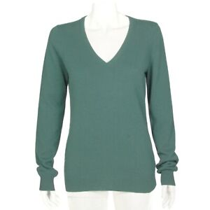 Uniqlo Lovely Pine Forest Green V-Neck 100% Cashmere Sweater Womens Medium - 843
