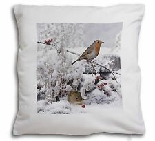 More details for snow mouse and robin print soft velvet feel cushion cover with inner , amo-5-cpw