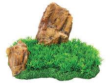 Large Rock with Grass FIsh Tank Aquarium Reptile Vivarium Ornament