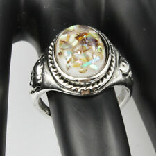 Shells Amber Gemstone New  Jewelry 925 Silver Plated Men Women Ring Size 7