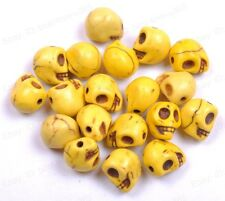 10pcs Yellow Turquoise Carved Skull Spacer Loose Beads Charms 12X10MM