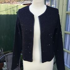 LADIES CARDIGAN/SHRUG BY MISS SELFRIDGE SIZE 10 BLACK WITH SEQUINS GD CONDITION