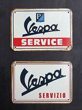 Vespa Service & Servizio Large Vintage Garage Metal Sign 40x30Cm ( set of 2 )