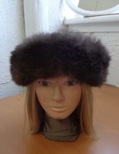 Excellent Brown Opossum Fur & Cloth Hat Cap Women Woman Size All