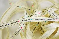 Bertie's Bows 'knitted with love' heart 16mm Grosgrain Ribbon - Multi Buy