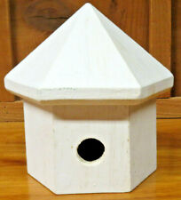 "Hexagon Handmade Cedar Bird House Painted White 9"" Tall VTG"